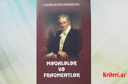 Vilhelm Fon  Humboldt. Məqalələr və fraqmentlər...